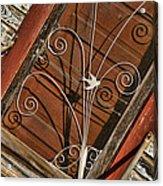 Barn Swallow Gracing Historial Train Station Door Acrylic Print