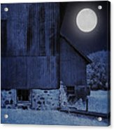 Barn Under A Full Moon Acrylic Print