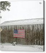 Barn With American Flag During Blizzard Of '05 On Cape Cod Acrylic Print