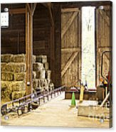 Barn With Hay Bales And Farm Equipment Acrylic Print