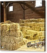 Barn With Hay Bales Acrylic Print