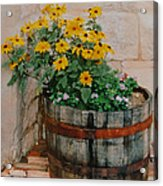 Barrel Of Flowers Acrylic Print