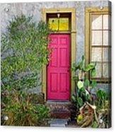Barrio Door Pink And Gray Acrylic Print