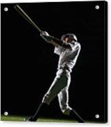 Baseball Batter Swinging Bat, Side View Acrylic Print by PM Images