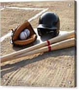 Baseball Glove, Balls, Bats And Baseball Helmet At Home Plate Acrylic Print by Thomas Northcut