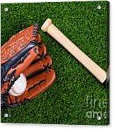 Baseball Glove Bat And Ball On Grass Acrylic Print by Richard Thomas