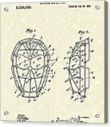 Baseball Mask 1912 Patent Art Acrylic Print