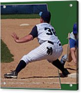 Baseball Pick Off Attempt 02 Acrylic Print by Thomas Woolworth