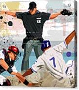 Baseball Player Safe At Home Plate Acrylic Print by Greg Paprocki