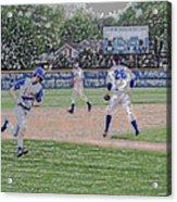 Baseball Runner Heading Home Digital Art Acrylic Print