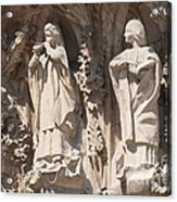 Basilica Sagrada Familia Nativity Facade Detail Acrylic Print by Matthias Hauser