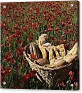 Basket Of Bread In A Poppy Field Acrylic Print