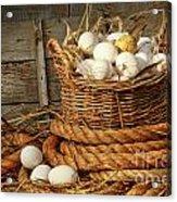 Basket Of Eggs On Straw Acrylic Print