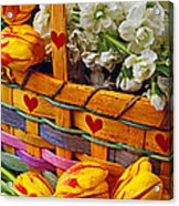 Basket Of Spring Flowers Acrylic Print