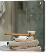 Bath Brush On Stacked Towels Acrylic Print