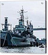 Battleships And Tugboat Acrylic Print