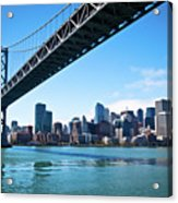 Bay Bridge And Embarcadero Acrylic Print by Lily Chou