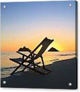 Beach Chair At Sunrise Acrylic Print