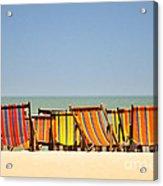 Beach Chairs Colorful  Acrylic Print