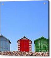 Beach Huts And Blue Sky Acrylic Print