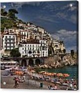 Beach Scene In Amalfi On The Amalfi Coast In Italy Acrylic Print