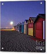 Beach Sheds At Dusk Acrylic Print by Nishan De Silva