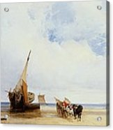 Beached Vessels And A Wagon Near Trouville Acrylic Print by Richard Parkes Bonington