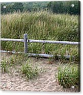 Beachside Fence Panorama Acrylic Print by Chris Hill