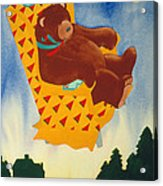 Bear Loved Flying Over The Forest In His Favorite Chair Acrylic Print