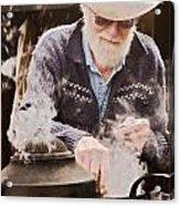 Bearded Miner Making Billy Tea Acrylic Print