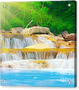 Beautiful Cascade Fall In Tropical Forest Acrylic Print
