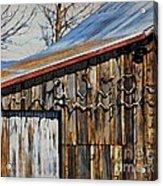 Beautiful Old Barn With Horns Acrylic Print
