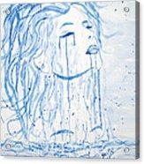 Beautiful Sea Woman Watercolor Painting Acrylic Print by Georgeta  Blanaru