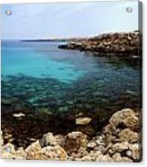 Beautiful View On Mediterranean Sea Cape Gkreko In Cyprus Acrylic Print