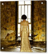 Beautiful Woman In Lace Gown In Abandoned Room Acrylic Print
