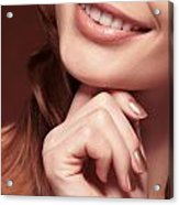 Beautiful Young Smiling Woman Mouth Acrylic Print by Oleksiy Maksymenko
