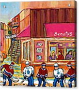 Beauty's Restaurant-montreal Street Scene Painting-hockey Game-hockeyart Acrylic Print