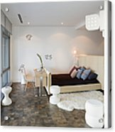 Bed And Desk In Bedroom Acrylic Print by Andersen Ross