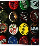 Beer Bottle Caps . 3 To 1 Proportion Acrylic Print by Wingsdomain Art and Photography