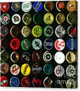 Beer Bottle Caps . 8 To 10 Proportion Acrylic Print by Wingsdomain Art and Photography