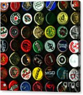 Beer Bottle Caps . 8 To 12 Proportion Acrylic Print by Wingsdomain Art and Photography