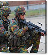 Belgian Infantry Soldiers In Training Acrylic Print by Luc De Jaeger