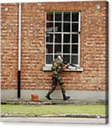 Belgian Soldiers On Patrol Acrylic Print by Luc De Jaeger