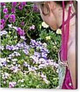 Belle In The Garden Acrylic Print by Angelina Vick