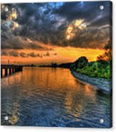 Sunset At Belle Isle Pier Detroit Mi Acrylic Print