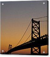 Ben Franklin Bridge Sunrise Acrylic Print