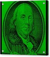 Ben Franklin In Green Acrylic Print