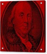 Ben Franklin In Red Acrylic Print