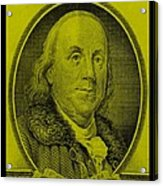 Ben Franklin In Yellow Acrylic Print