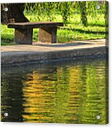 Bench And Reflections In Tower Grove Park Acrylic Print